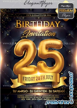 Birthday Invitation Flyer PSD V02 Template + Facebook Cover