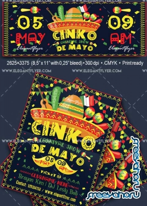 Cinco de Mayo V35 Flyer Templates Flyer PSD Template + Facebook Cover
