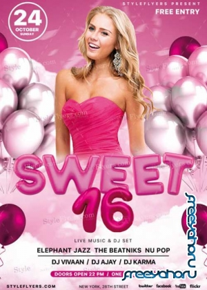 Sweet 16 V7 PSD Flyer Template