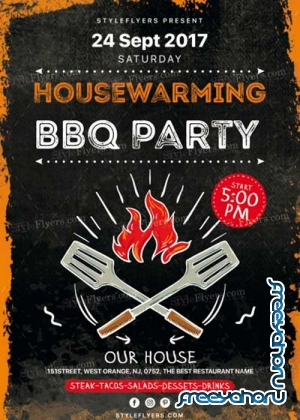 Housewarming BBQ Party V1 PSD Flyer Template
