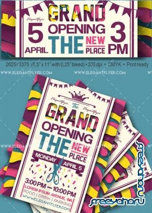 Grand Opening V35 Flyer PSD Template + Facebook Cover