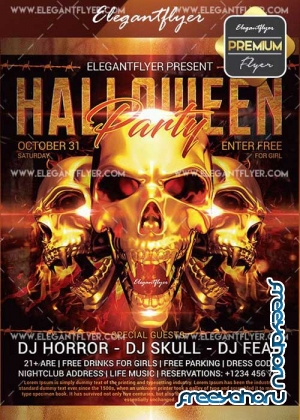 Halloween Party V01 Flyer PSD Template + Facebook Cover