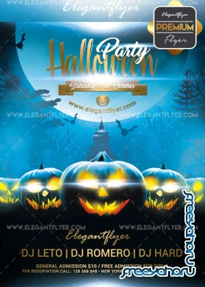 Halloween party 2017 V04 Flyer PSD Template + Facebook Cover