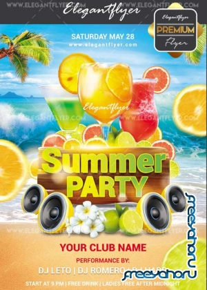 Summer party V44 Flyer PSD Template + Facebook Cover