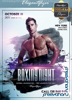 Boxing Night V10 Flyer PSD Template + Facebook Cover