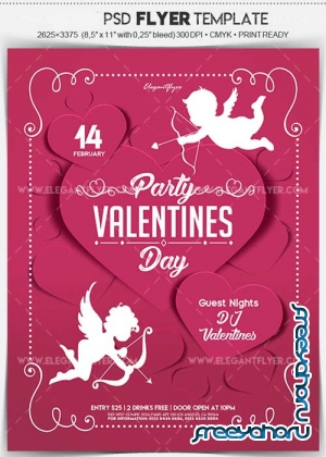 Valentines Day Party V12 Flyer PSD Template + Facebook Cover