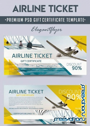 Airline Ticket V1 2018 Premium Gift Certificate PSD Template