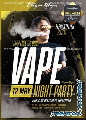 Vape V1 2018 Flyer PSD Template + Facebook Cover