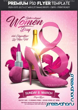 International Women Day V1 2018 Flyer PSD Template + Facebook Cover
