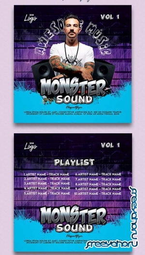 Monster Sound V1 2018 Premium CD Cover PSD Template