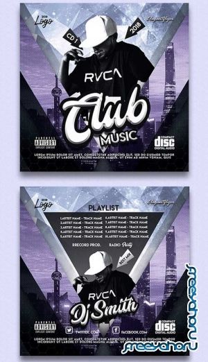 Club Music V2 2018 CD Cover PSD Template