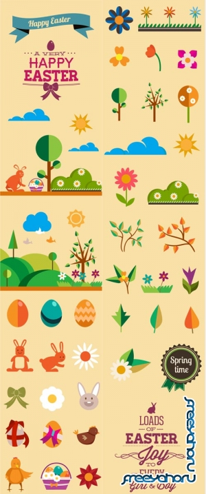 Spring flat vector elements #1 - Stock Vector