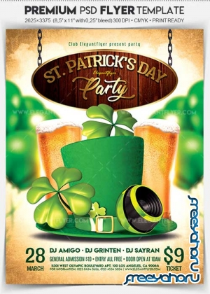 St. Patrick's Day Party V16 Flyer PSD Template + Facebook Cover