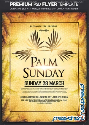 Palm Sunday V1 2018 Flyer PSD Template + Facebook Cover