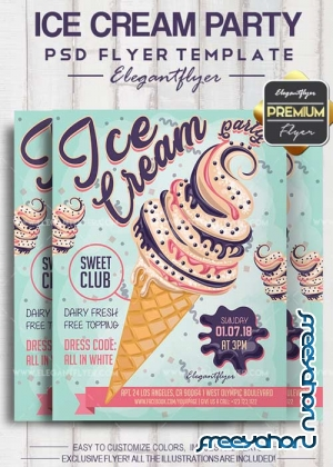 Ice Cream Party 2018 Flyer PSD V1 Template + Facebook Cover