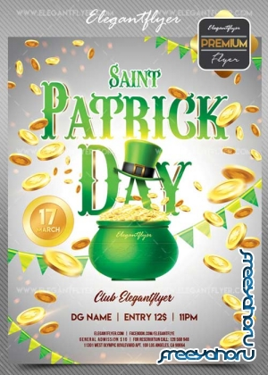 St. Patrick Day V19 2018 Flyer PSD Template + Facebook Cover