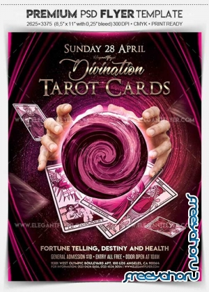 Tarot Cards V1 2018 Flyer PSD Template + Facebook Cover