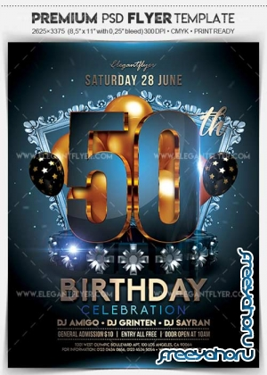 50th Birthday Party V1 2018 Flyer PSD Template + Facebook Cover