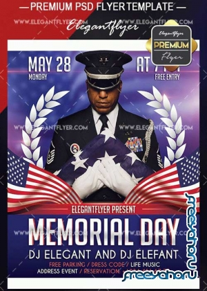 Memorial Day Design V03 Flyer PSD Template + Facebook Event Page