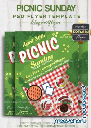 Picnic Sunday V1 2018 Flyer PSD Template + Facebook Cover