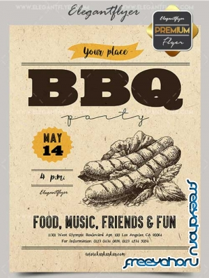 BBQ Party V5 2018 Premium Flyer PSD Template + Facebook Cover