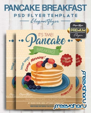 Pancake Breakfast V1 2018 Flyer PSD Template + Facebook Cover
