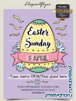 Easter Sunday V1 2018 Premium Flyer PSD Template + Facebook Cover