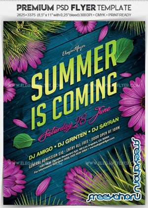 Summer is Coming v1 2018 Flyer PSD Template + Facebook Cover