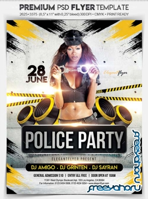 Police Party V1 2018 Flyer PSD Template + Facebook Cover