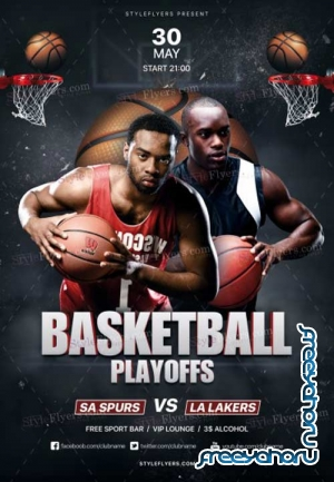 Basketball Playoffs V1 2018 PSD Flyer Template