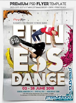Fitness Dance V1 2018 Flyer PSD Template + Facebook Cover