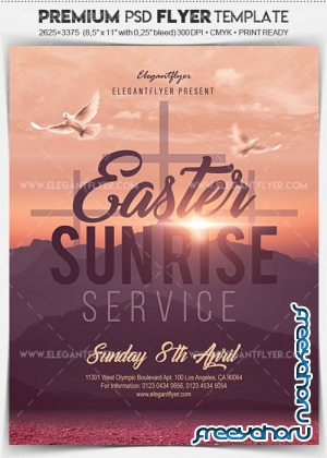 Easter Sun Rise Service V2 2018 Flyer PSD Template + Facebook Cover