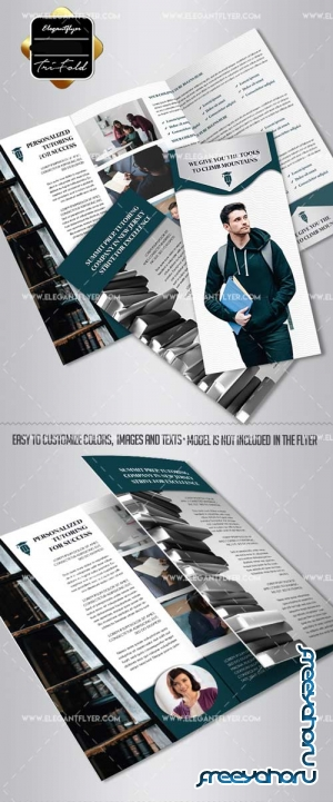 Academic Tutor School V1 2018 Tri-Fold Brochure PSD Template