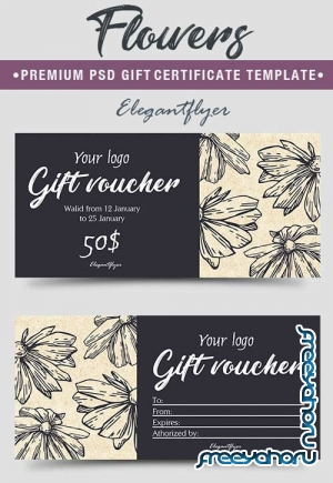 Flowers V4 2018 Premium Gift Certificate PSD Template