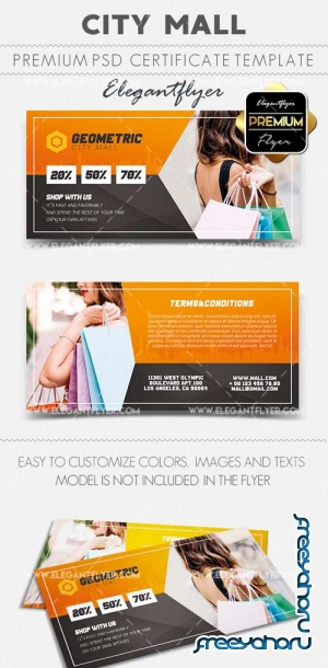 City Mall V1 2018 Gift Certificate PSD Template