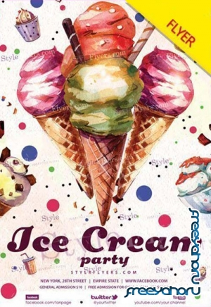 Ice Cream Party V3 2018 Flyer PSD