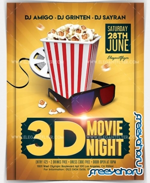 3D Movie Night V3 2018 Flyer PSD Template