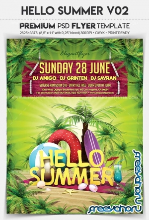 Hello Summer V32 2018 Flyer PSD Template