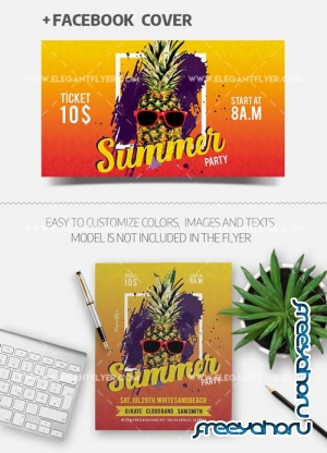 Summer Party V38 2018 Flyer PSD Template + Facebook Cover