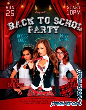 Back to school party V16 2018 Flyer PSD Template