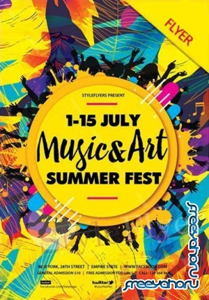 Music & Art Summer Fest V1 2018  Flyer PSD
