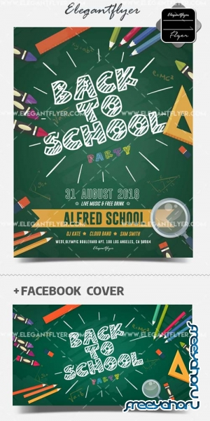 Back to School Party V15 2018 Flyer PSD Template