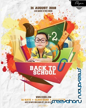 Back to School Party V10 2018 Flyer PSD Template