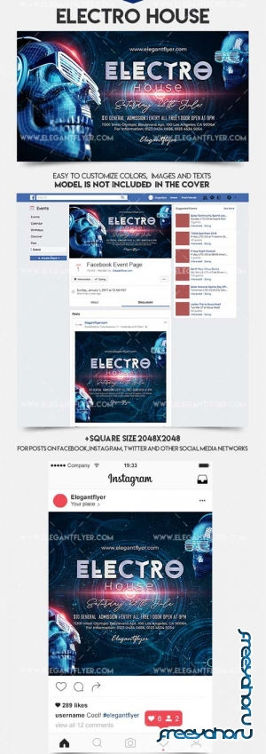 Electro House V2 2018 Facebook Event + Instagram template