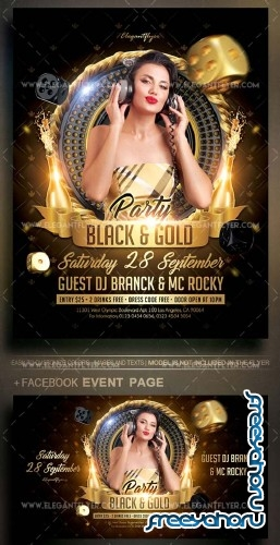 Black and Gold Party V14 2018 Flyer PSD Template