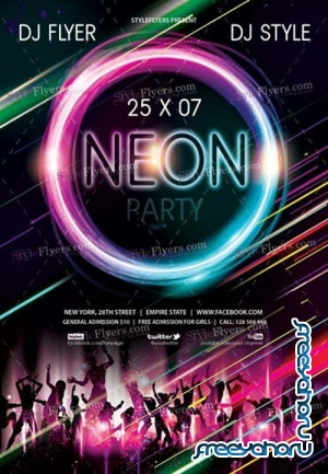 Neon Party V22 2018 PSD Flyer Template