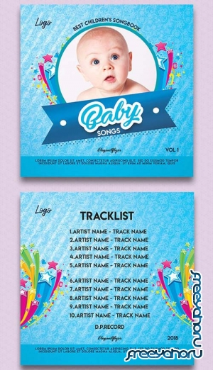 Baby Songs V1 2018 CD Cover PSD Template