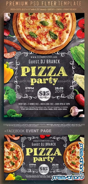 Pizza Party V15 2018 Flyer PSD Template
