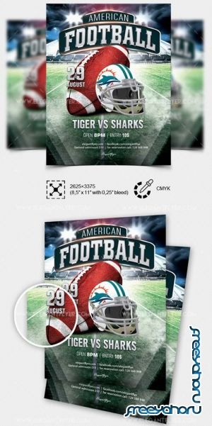 American Football V11 2018 Flyer PSD Template