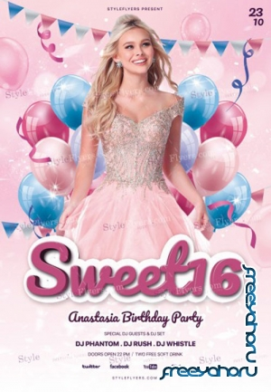 Sweet 16 V5 2018 PSD Flyer Template
